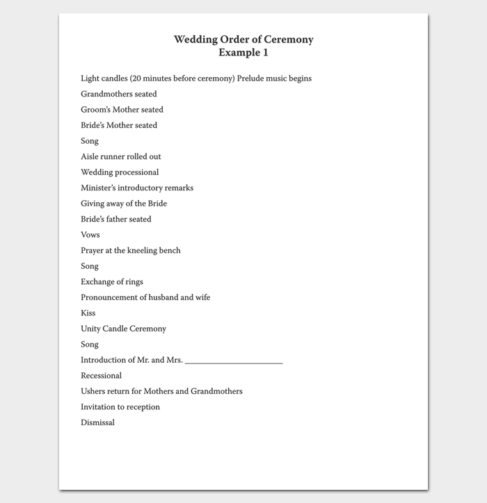 Wedding Ceremony Program Outline in PDF