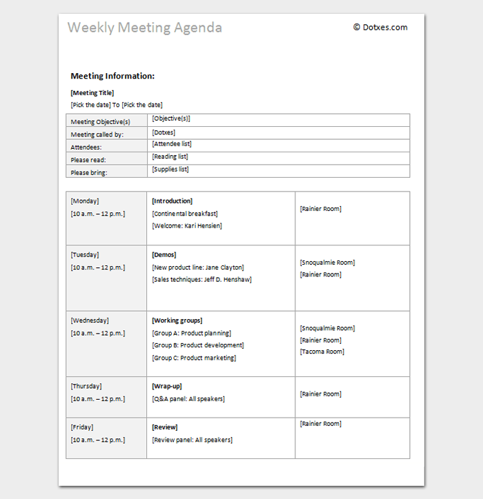 Weekly Meeting Agenda Outline Template