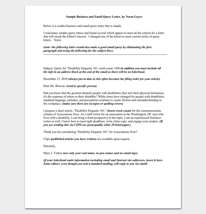 Business and Email Query Letter 1