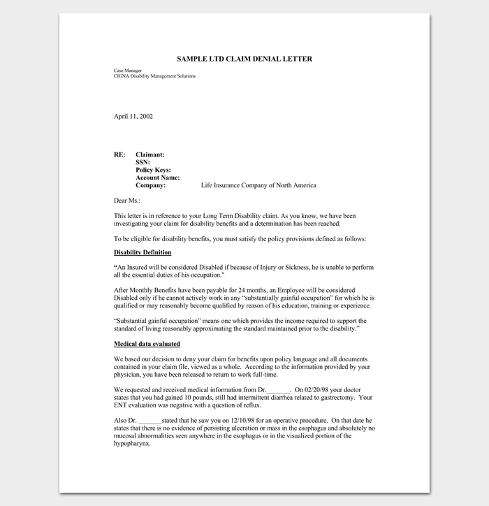 Claim Denial Letter Sample in PDF 1