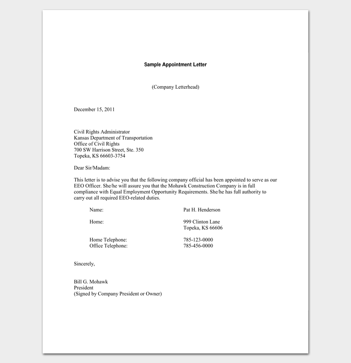 Company Appointment Letter - 9+ Docs for Word and PDF Format