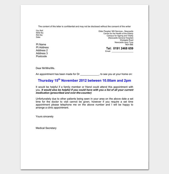 doctor appointment letter template