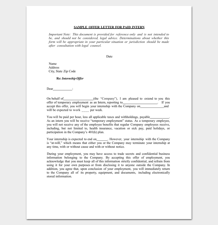 Internship Appointment Letter Template 10 Docs Formats
