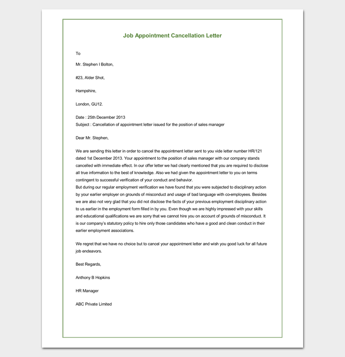 appointment cancellation letter