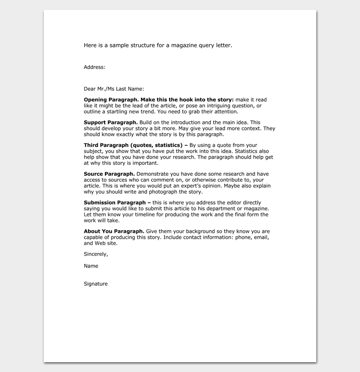 Magazine Query Letter 1