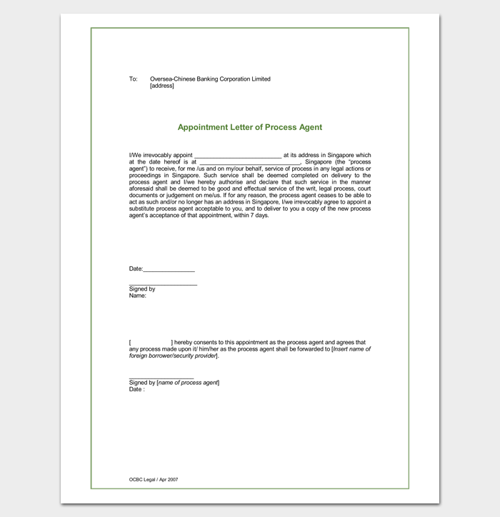 Process Agent Appointment Letter