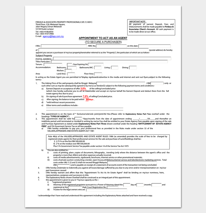 Property Agent Appointment Letter Sample 1