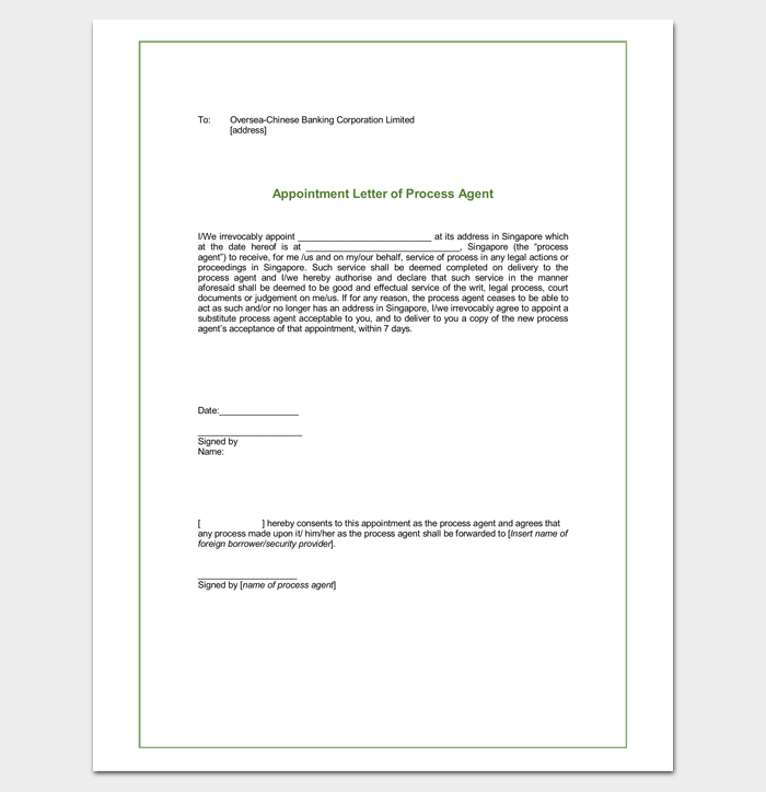 Real Estate Agent Appointment Letter Format