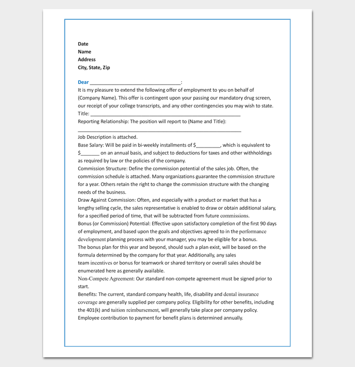 Sales Agent Appointment Letter