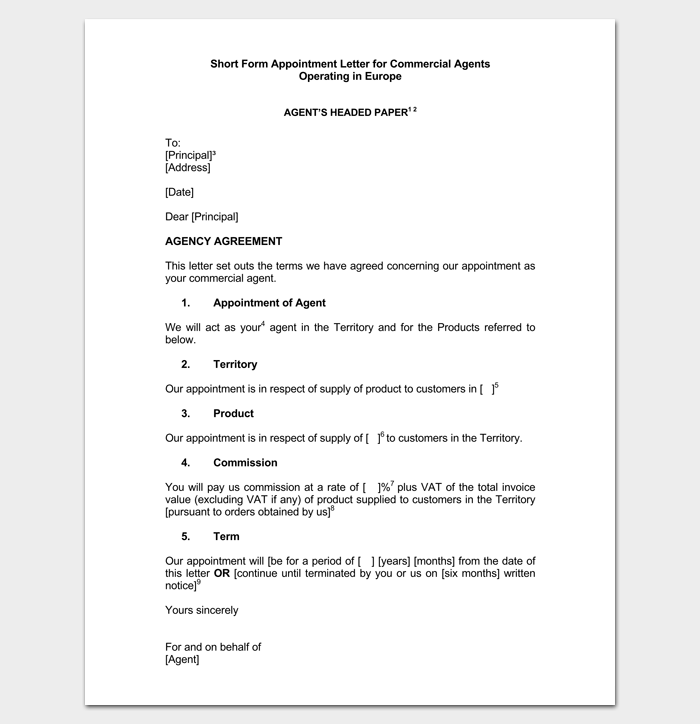 Sample Appointment Letter for Commercial Agent 1