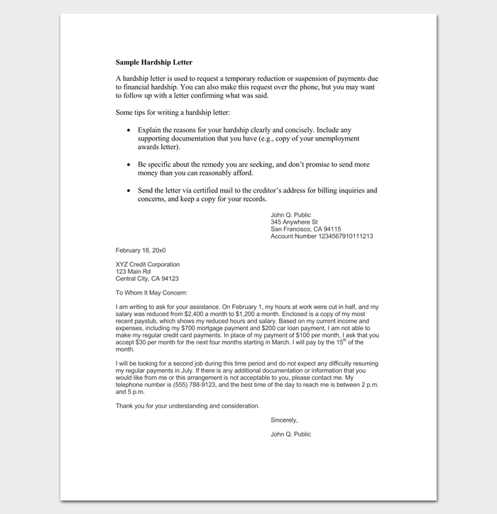 Sample Financial Hardship Letter Template 1