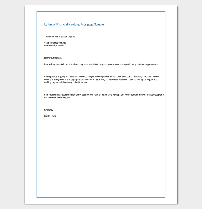 Sample Letter of Financial Hardship Mortgage