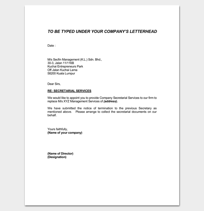Tax Agent Appointment Letter Word Doc