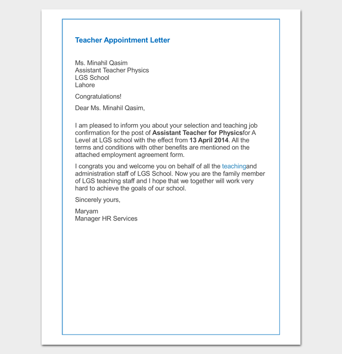 Teacher Appointment Letter for Primary School