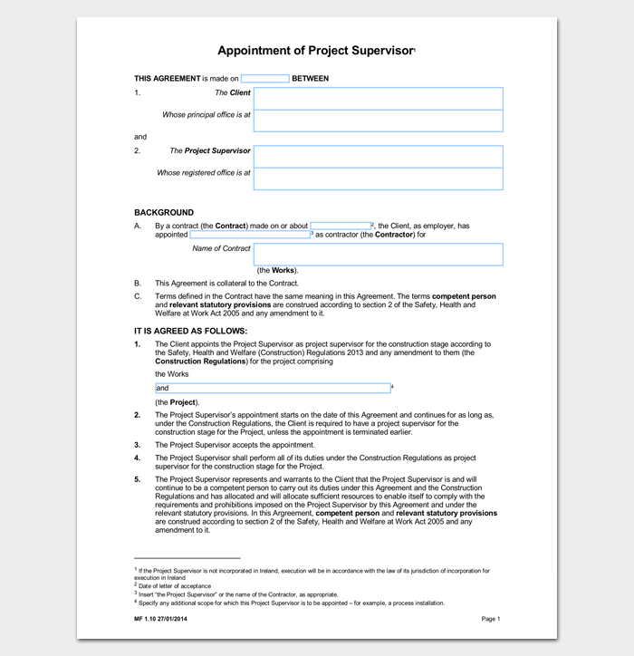 Appointment Letter for Project Supervisor