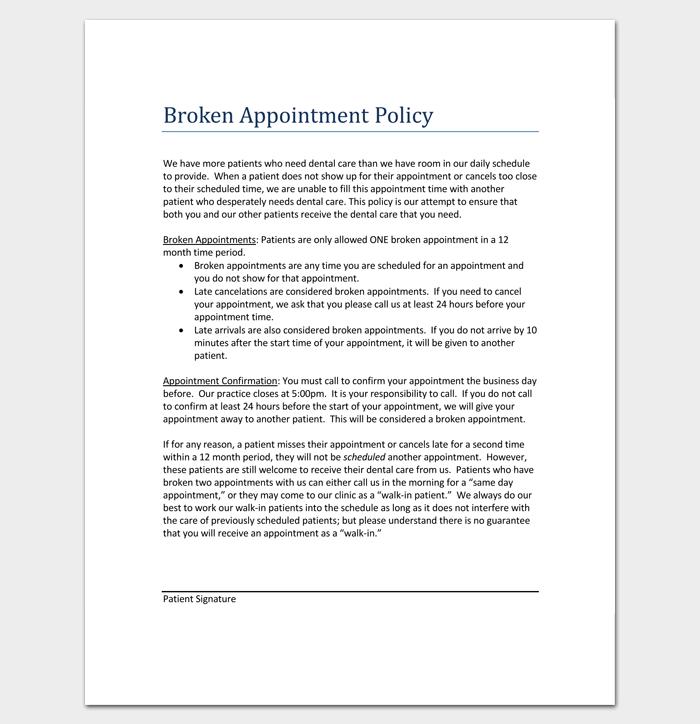 Dental Broken Appointment Letter 1