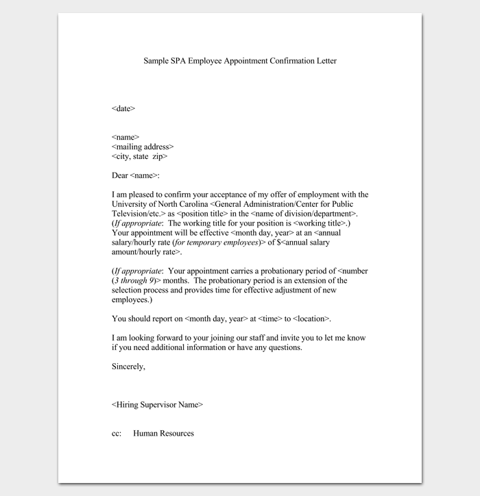 Employee Appointment Confirmation Letter 1