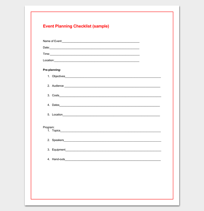 Event Planning Checklist in Word
