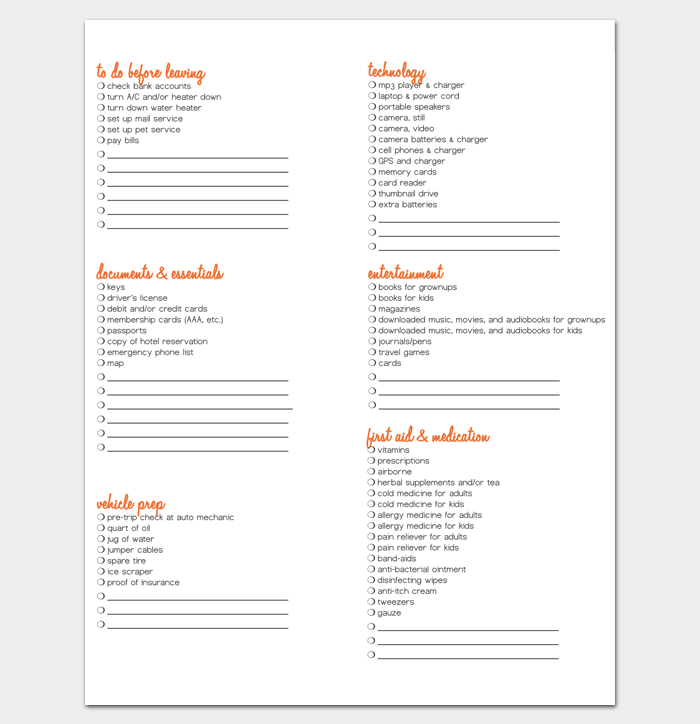 Family Vacation Packing List Template 1