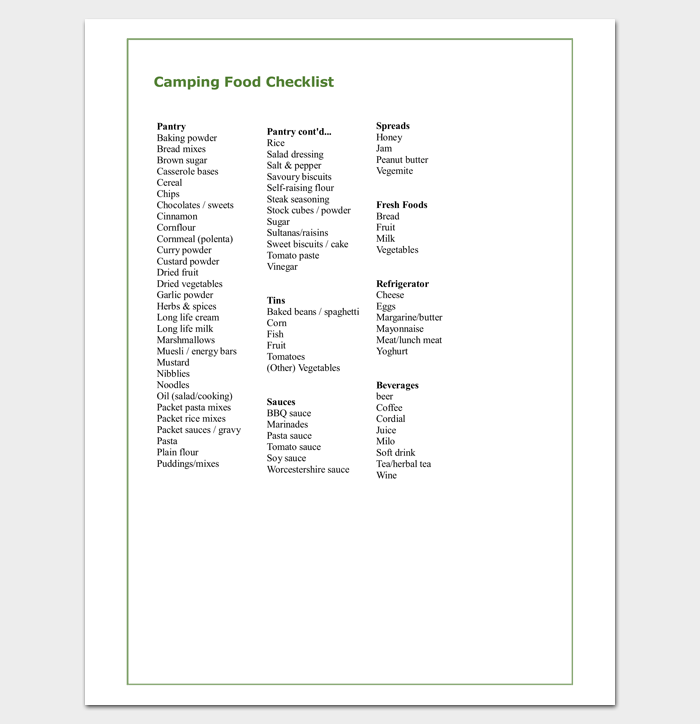 Food Packing List for Vacation