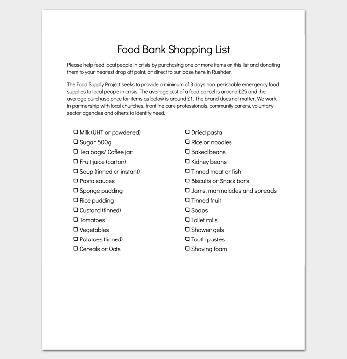 FoodBank Shopping List 1