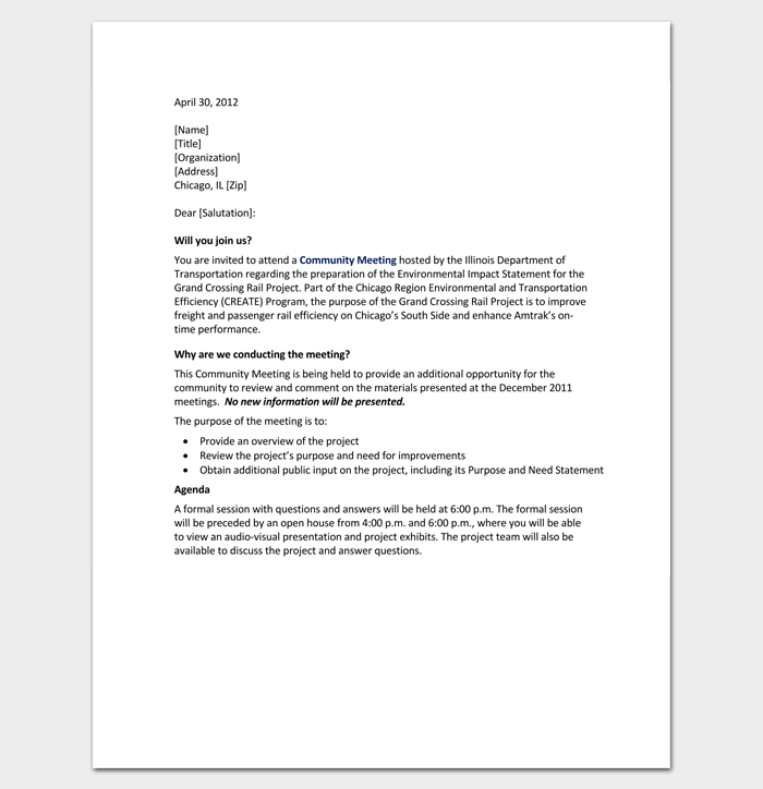 meeting appointment letter