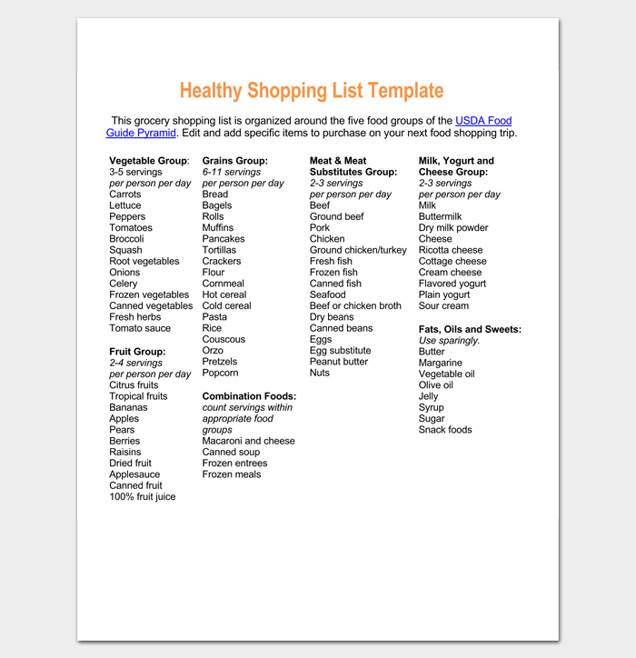 Healthy Grocery Shopping List Template 1