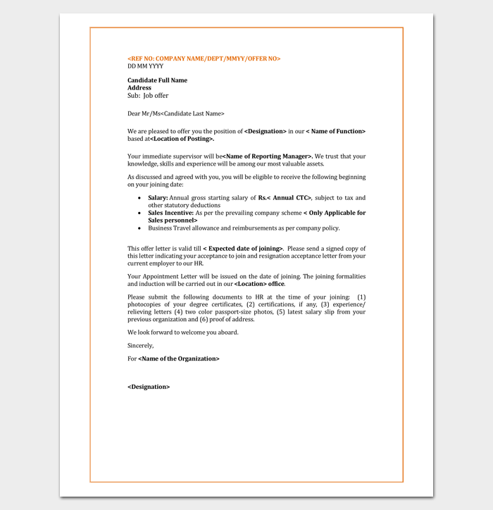 Hotel Employee Appointment Letter