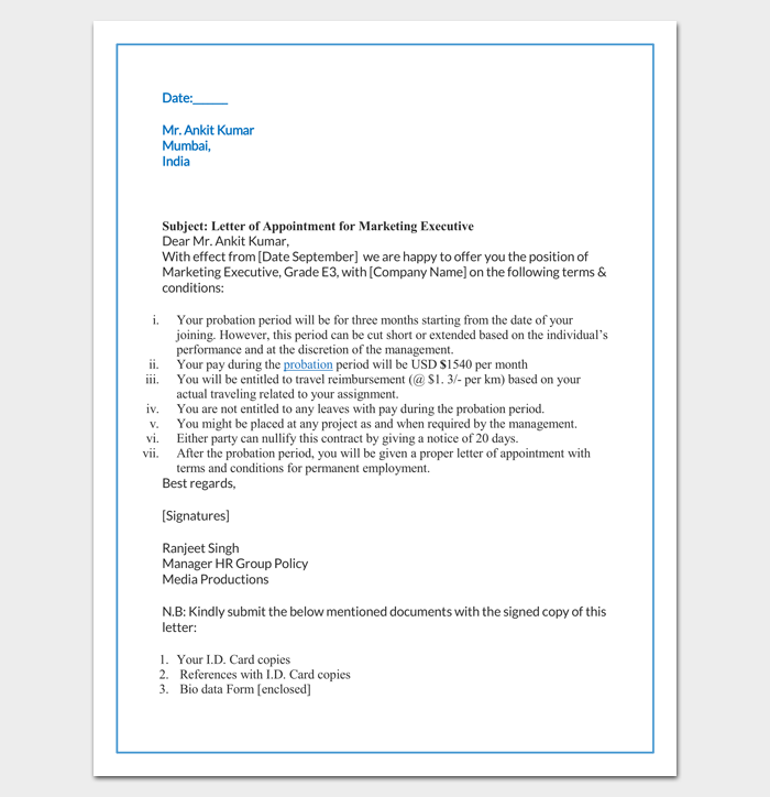 Job Appointment Letter for Marketing Executive