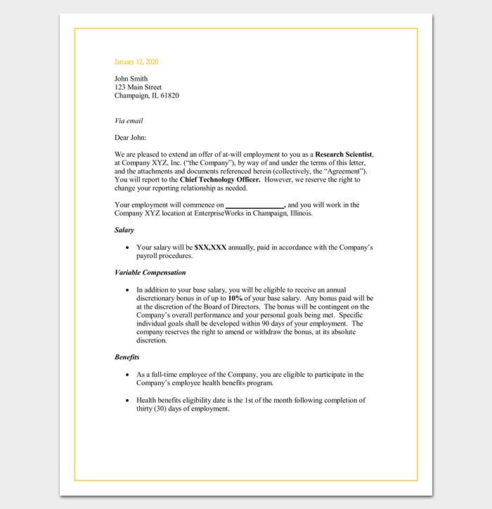 Job Offer Appointment Letter (Word Doc)
