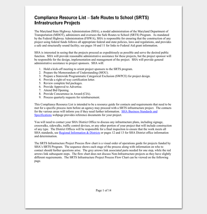 Project Compliance Resource List 1