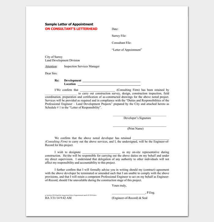 Contractor Appointment Letter - 6+ Samples in Word, PDF