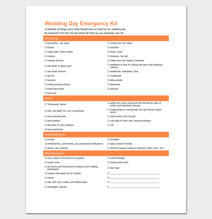 Wedding Day Emergency Checklist 1