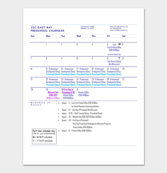 Monthly Preschool Calendar Template 1