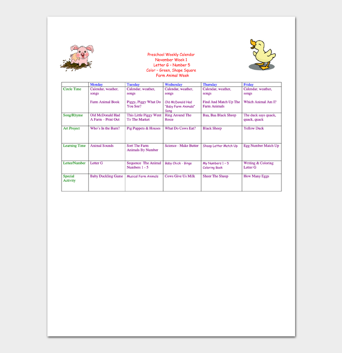 Preschool Weekly Calendar Template 1