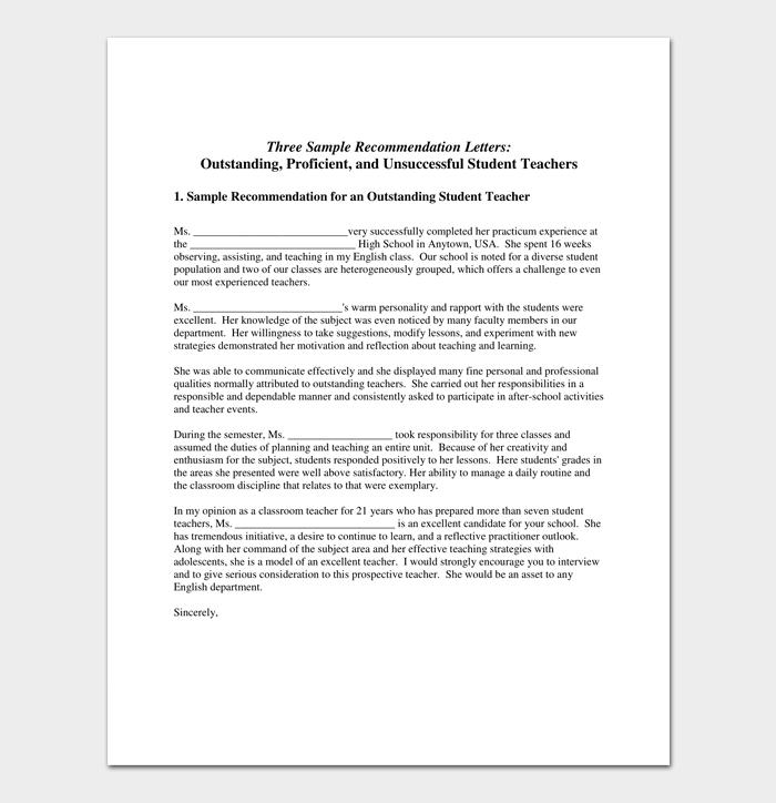 Recommendation Letter for a Teacher 1