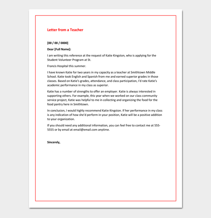 Sample Recommendation Letter from a Teacher