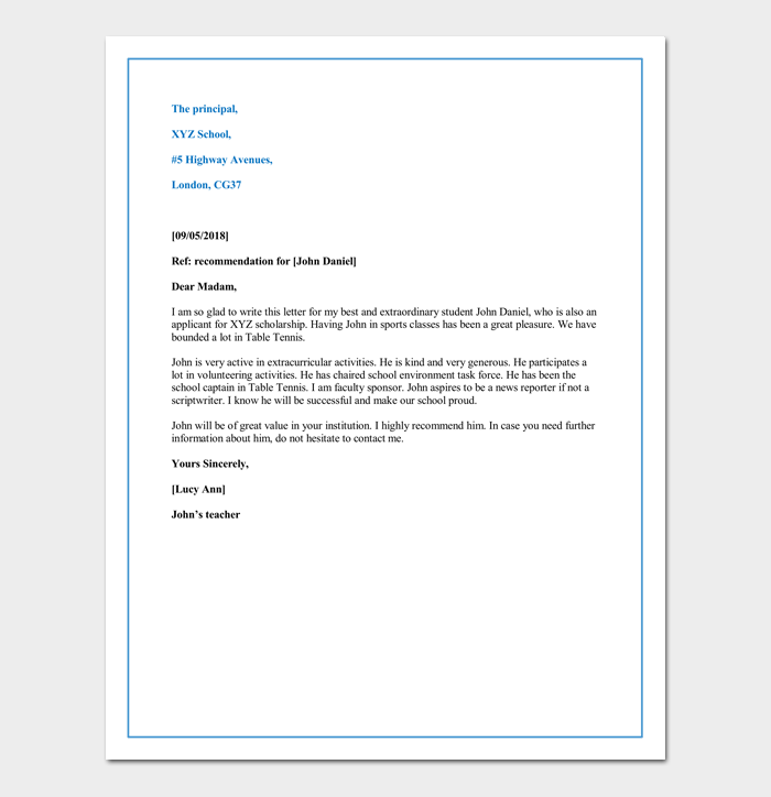 Letter of Recommendation for a Child for Private School Admission