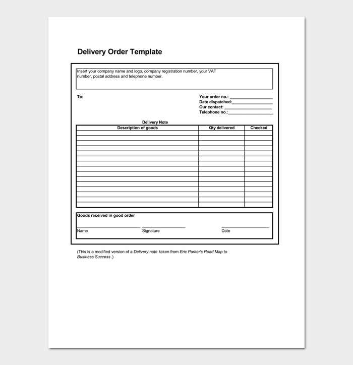 Simple Delivery Order Template