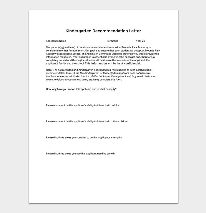 kindergarten Recommendation Letter (Plus Guide) 1