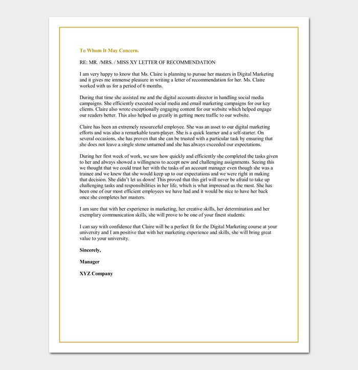 letter of recommendation for a graduate school