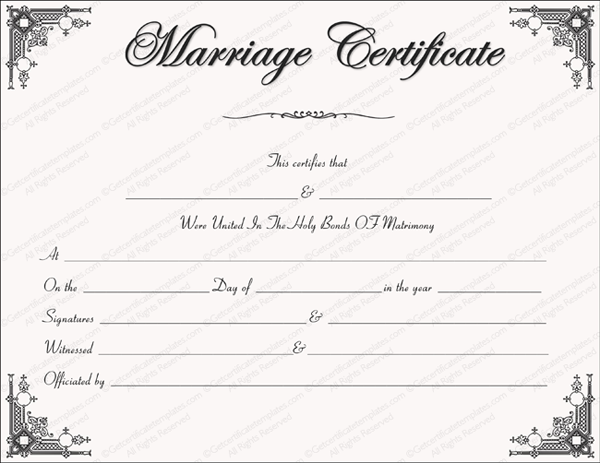 Marriage Certificate Format - 7+ Blank Editable Formats ...