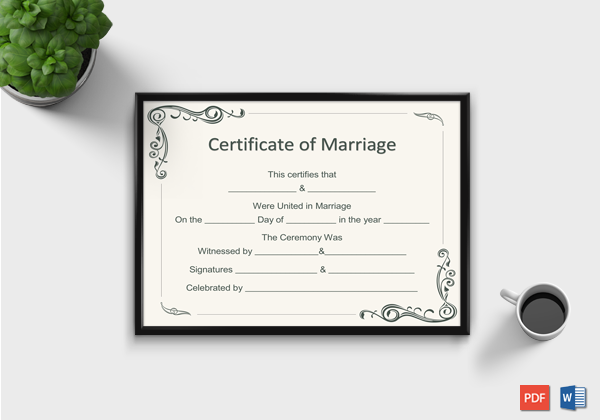 Marriage Certificate Format for Word