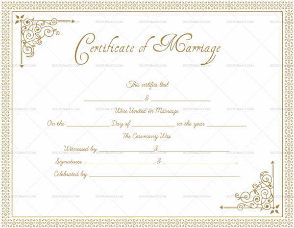 Blank Editable Marriage Certificate in Word