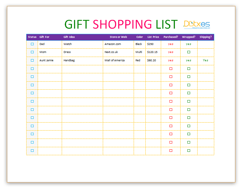 gift shopping list template