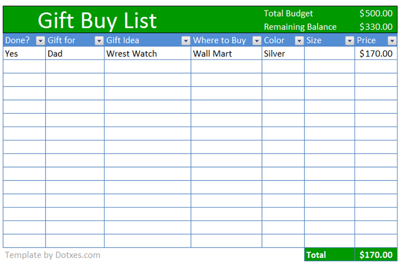 buy gift checklist template  budget plus