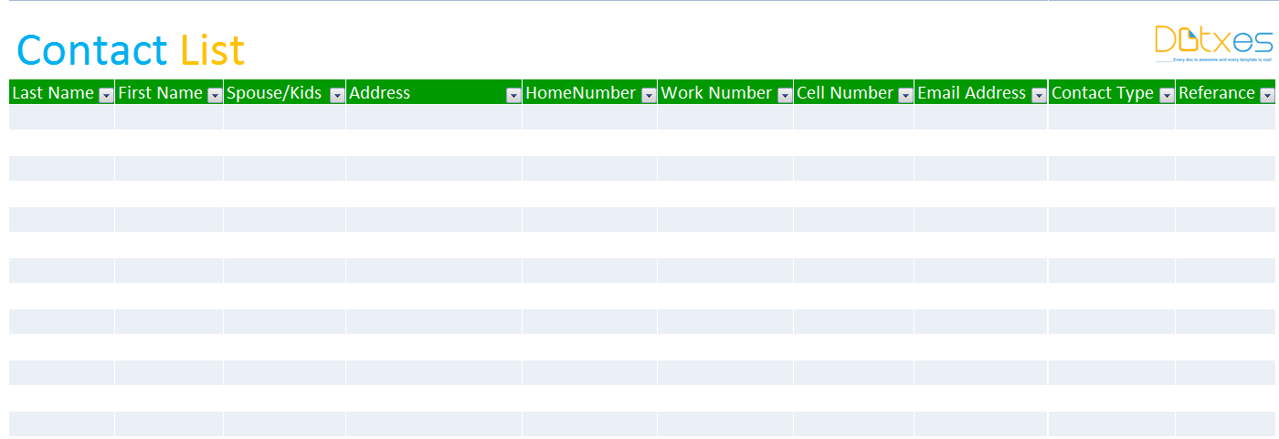 Contact list template (Basic)