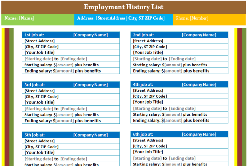 Employment History List Template