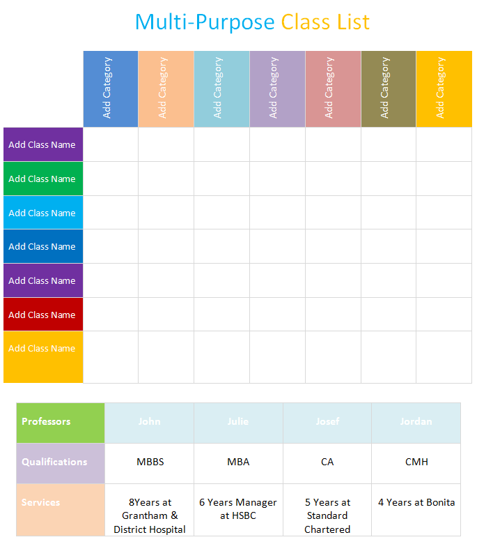 multi-purpose class list template