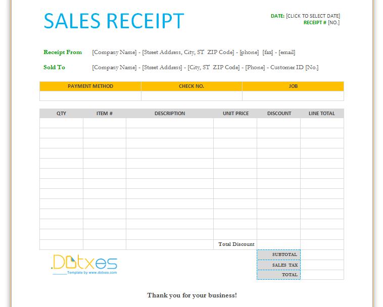 Sales receipt template by dotxes